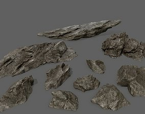 rock set 3 3D asset low-poly