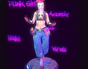 3D asset game-ready Punk-Clown Girl Low poly
