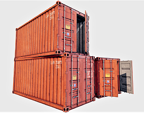 3D model game-ready Enterable Shipping Container 01 - PBR