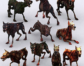 animated low-poly 3DRT - Zombie Dogs