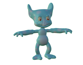 Goblin monster with patches in TPose 3D model