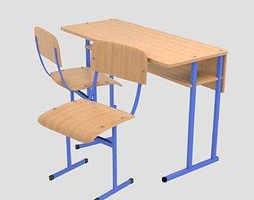 Chair and school desk 3D asset