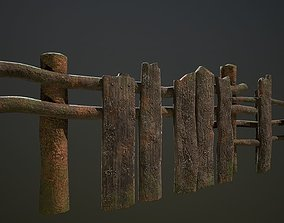Low poly village old wooden fence patch 3D model 1