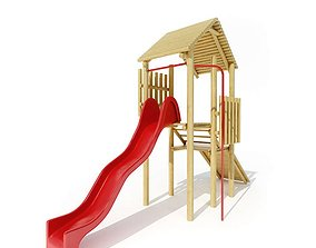 Children s Wood Play Set With Red Slide 3D model