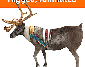 Reindeer rigged animated 3D model animated