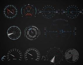 Sci-Fi Hud Elements dashboard 3D