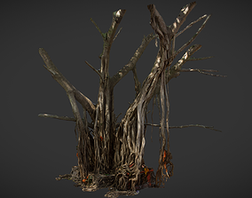 Big Banyan tree with small temple inside 3D model