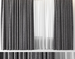 CURTAINS GREY WOOL 3D