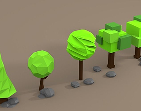 3D model Low Poly Trees