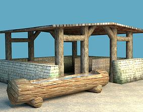 Big medieval stable 3D model