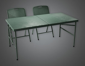 Military Table and Chair - MLT - PBR Game 3D model