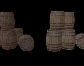 3D asset Medieval Wooden Barrel 001 Low Poly