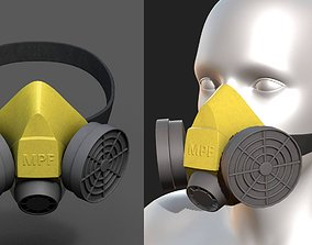 3D asset Gas mask isolated protection scifi futuristic