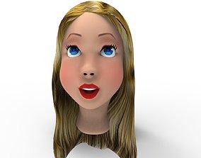 3D model game-ready Girl Head