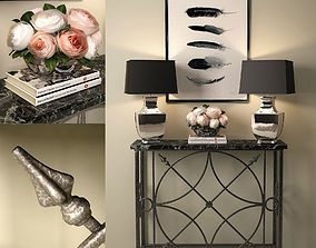 3D Forged console with lamps and decor