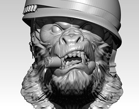 3D print model Detailed Angry Warrior Monkey soldier Cigar
