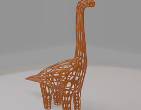 Ready to 3D Print Wireframe Dinosour Brachiasourus