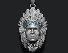 3D printable model Native American Indian man pendant