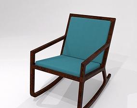Rocker Teal upholstered walnut rocking chair 3D asset 3