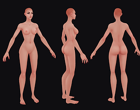 Hand Painted Female Base Mesh 3D asset