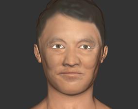 Jet Li head Actor movie realistic 3Dprint VR / AR ready