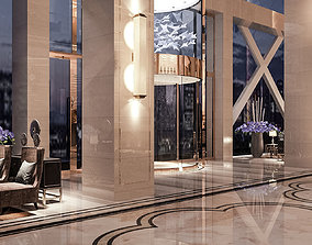 Hotel lobby 3D rigged