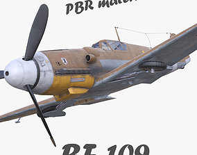 realtime BF-109 German fighter PBR materials 3d model 3D 1