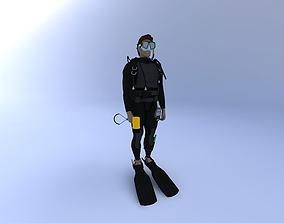 Scuba Diver Male 3D model