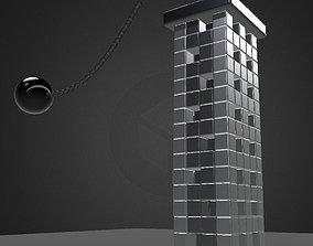 Bullet Physics Demolition Animation 3D asset