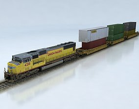 Double Stack Shipping Container Train Set SD70M 3D model