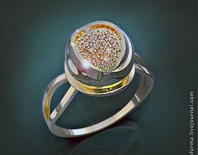 Ring sphere tulip diamonds pave 3D printable model