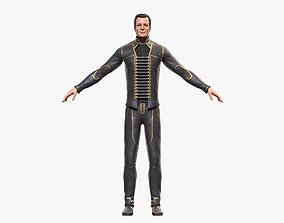 3D Man in Leather Suit