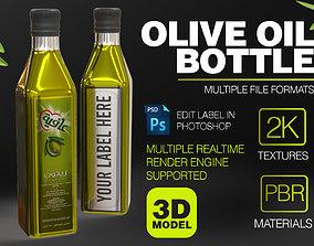 3D model Olive Bottle with Editable Label