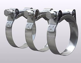 Hose clamp 3D model metallic
