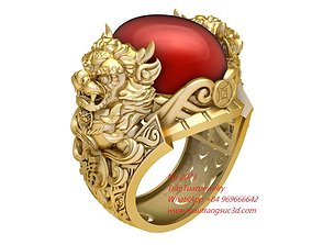 2073 Ruby Oval Unicorn Ring New Design 3D print model 1