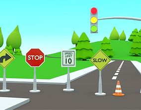 3D asset VR / AR ready Road sign collection