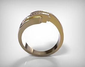 Jewelry Golden Encrusted Diamonds Ring 3D printable model