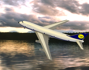 3D model Realistic low poly Boeing 747