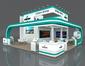 3D model Exhibition Stand Booth Stall 9x9m Height 500 cm 2