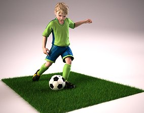 Youth Boy Soccer Player Rigged Character model rigged