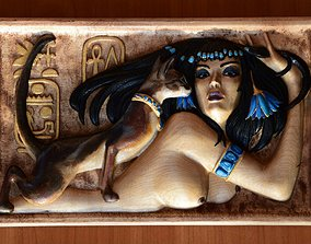 Egyptian lady wall painting art 3d models for artcam and