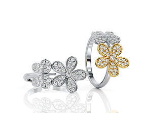 Butterfly Flower Ring in White and Yellow 3D print model 4