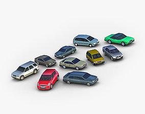 3D model 10 Lowpoly City Cars