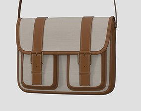 3D Canvas and Leather Messenger Bag