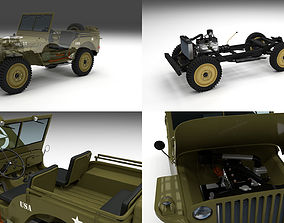 Full w chassis Jeep Willys MB Military 3D model