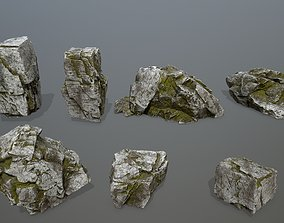 moss rock set 3D asset VR / AR ready