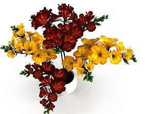 Red-Yellow Flowers in Pot 3D model low-poly