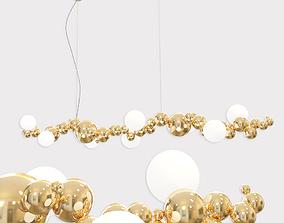 3D Bubbly Light Linear Modern Molecule Sculptural