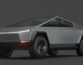 Tesla cybertruck 3D model chrome