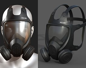 low-poly Gas mask helmet 3d safety isolated fantasy human